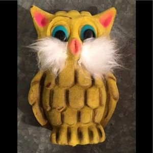 Vintage Owl Coin Piggy Bank Fuzzy Texture Yellow